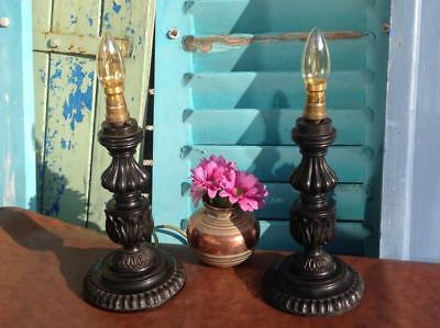 Fine Antique Carved Rosewood Table Lamps Bedside Lamps (Candlesticks) 19thC Chic