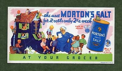 "MORTON'S SALT Ink Blotter - 3¼""x6¼"", Old Woman Who Lived in a Shoe, Great Cond"