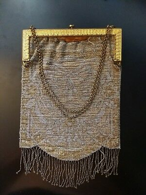 Vintage French Steel 1918 Beaded Purse Chain Handle Flapper Gold