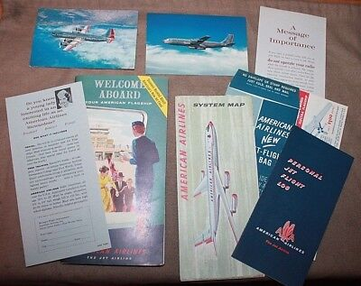1959 American Airlines 707 Flagship 52 Page Booklet Folder System Map Jets