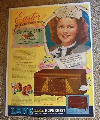 1945 Lane Hope cedar Chest Easter Shirley Temple vintage print ad advertisement