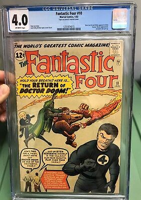 FANTASTIC FOUR #10 CGC 4.0 Off-white Pages 1963 Marvel Comic 1st Stan Lee App!!