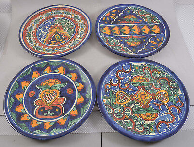 Set of 4 AMORA TALAVERA Hand Painted Mexico Mexican Pottery Platters or Plates