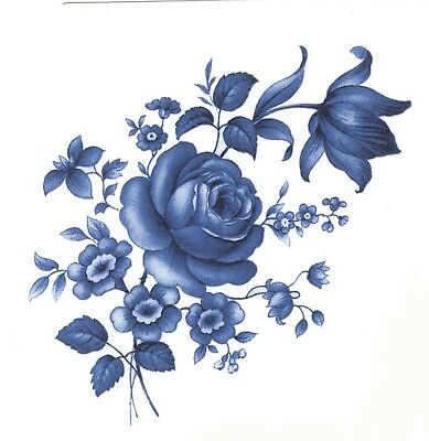 Delft Blue Rose Swag Flowers Select-A-Size Waterslide Ceramic Decals Xx
