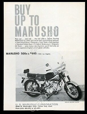 1965 Marusho 500cc Sports Touring motorcycle photo vintage print ad