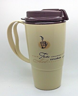 Tim Horton's 16 oz Deluxe Thermo Serve Plastic Travel Coffee Mug Cup Beige Brown