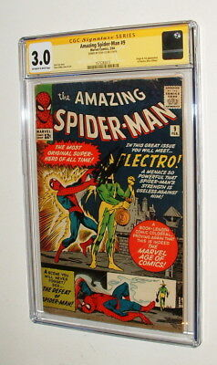 1964 Amazing Spider Man #9 Comic Book Signed By Stan Lee Cgc Graded 3.0