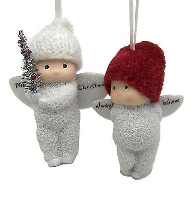 2 Dept 56 Angel Gifts Ornaments Bottle Brush Always Believe Merry Christmas Snow