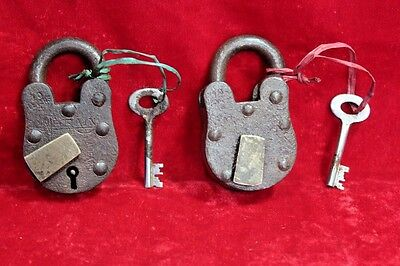 2 Pc. Old Antique Vintage Rare Iron Brass Lock and Key Collectible BD-7