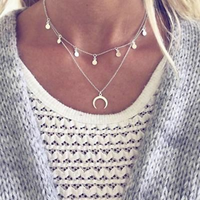 Moon Coin Chocker Boho Chain Multilayer Choker Necklace for Women Necklaces pend