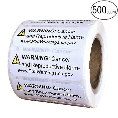 Prop 65 California Warning Labels 500 Count Roll | .5 by 1.5 Inch Size | Perfect