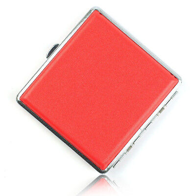 Women 20 Cigarette Case Metal and Leather Tobacco Pocket Smoke Holder Box Red