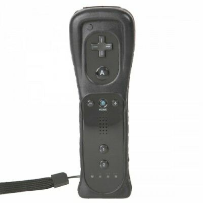 Uk Brand New Black Remote Controller For Nintendo Wii & Wii U + Silicone + Strap