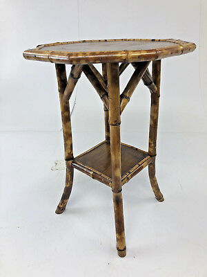Vintage BAMBOO TABLE Octagon side end Mid Century Modern boho chic wood rattan 2