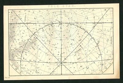 c1885 Antique Astronomy Print - Pole Star -   Sky Map