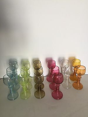"""Magnificent Italian Venetian Mouth Blown Art Glass Goblet 7 1/4"""" Tall 6 Color"""