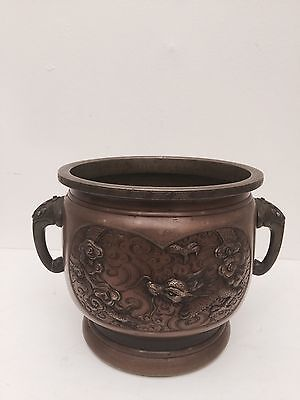 antique heavy brass  Chinese  coal  pot%40 Off Now