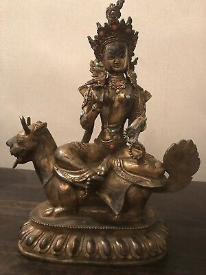 Heavy Antique 19c Chinese Bronze Temple God with Coral and Turquoise Stones