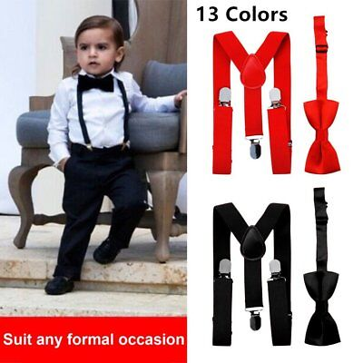 Elastic Adjustable Suspender and Bow Tie Matching Set for Boys Child Kids PZ
