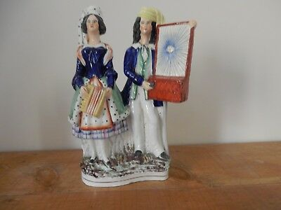 19th C Staffordshire Flatback - A Pair of Musicians 11 inches high
