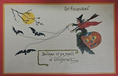 Antique Postcard-On Halloween Beware Of Spell Of Witchcraft-Witch/jack-O-Lantern