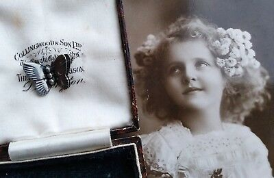 Very Rare Antique Victorian Tiny Miniature Sterling Silver Butterfly Brooch Pin
