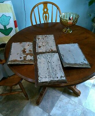 """VINTAGE ANTIQUE ROOFING TIN SHINGLE (Lot of 4) SHIELD EMBOSSED 13 1/2"""" X 9 1/2"""""""