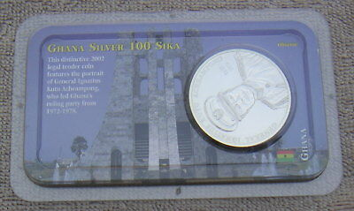 Ghana 2002 .925 Sterling Silver BU 100 Sika Coin in Littleton Packaging Lot NICE