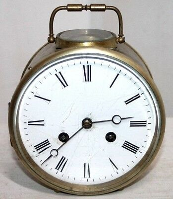 ANTIQUE 19THc. FRENCH BRASS DRUM CARRIAGE CLOCK W/ PORCELAIN FACE & BELL STRIKE.