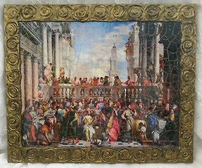 """The Wedding at Cana Handmade Wooden Famous Art Print Painting 14x12"""" (36x30 cm)"""