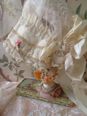 A Stunning 19th Century Embroidered & Lace On Silk Bonnet with Rose Buds