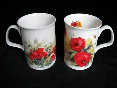 PAIR of Roy Kirkham Fine Bone China Mugs POPPY'S Design - flowers