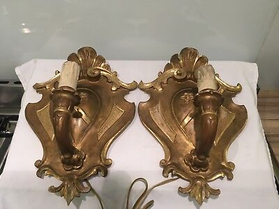 Pair Of Antique Vintage Armorial Florentine Gilt Wood Wall Sconces, Lights
