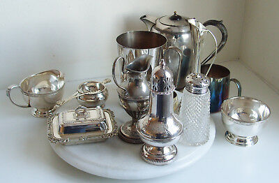 Vintage Viners  Pot Sugar Bowl plus Milk Jug plus other silver plated items