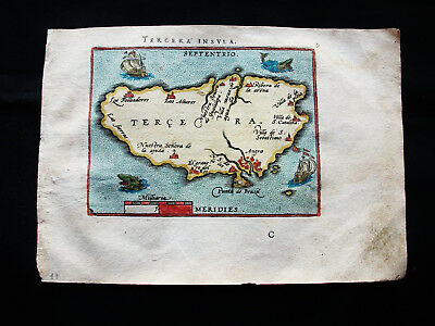 "1601 ORTELIUS -""amazing map"": TERCEIRA INSULAE, AZORES Isl. NORTH ATLANTIC OCEAN"
