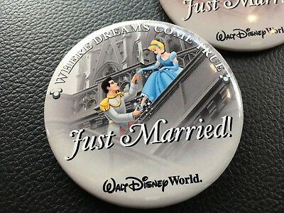 Walt Disney World Just Married Pin Button Retired Cinderella Prince Set of Two