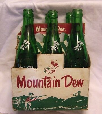 1960's Mountain Dew Bottles & Carton ACL Filled by Bottles