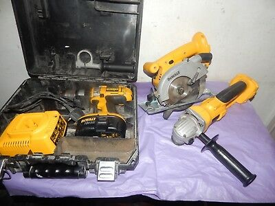 Dewalt Dc988 Drill,dw936 saw,dc411 Angle Grinder.Battery & Charger.