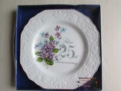 Vintage Carrigcraft Carrigaline 25th Silver Anniversary Plate, MADE IN IRELAND.