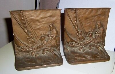 Vintage Solid Bronze Bookends Vikings on sailing boat 5 in by 4 1/2 in bookends