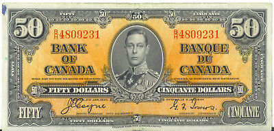 Bank of Canada 1937 $50 Fifty Dollars Coyne-Towers B/H Prefix Good VF++