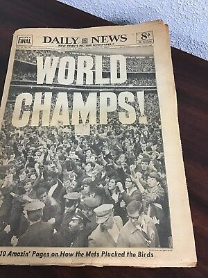 Daily News October 17 , 1969. Mets Are world Champs JB