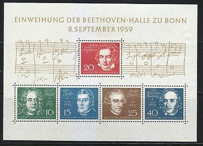 Germany 1959 MNH Mi Block 2 Sc 804 a-e Opening of Beethoven Hall in Bonn ***