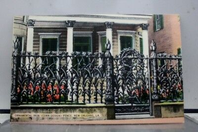 Louisiana LA New Orleans Ornamental Iron Corn Fence Postcard Old Vintage Card PC