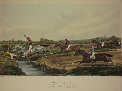 """Henry Alken (1785-1851) """"The Brook"""" Fore's Steeple Chasing Horse Race Lithograph"""