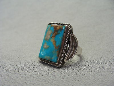 Vintage IHM Native American Cripple Creek Turquoise & Silver Ring Size 11