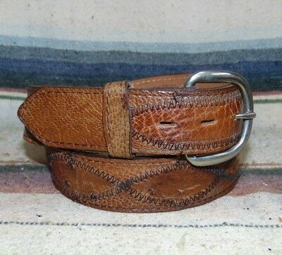 Vintage Fort Worth Leather Co Brown Ostrich Leather Western Belt 32 New