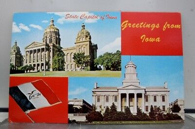 Iowa IA Des Moines Capitol Banner Postcard Old Vintage Card View Standard Post