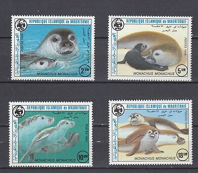 Timbre Stamp  4 Mauritanie Y&t#575-78 Phoque Seal Wwf  Neuf**/mnh-Mint 1986 ~C12