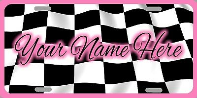 Personalized Custom Checkered Flag Racing NASCAR Pink Stylish License Plate NEW